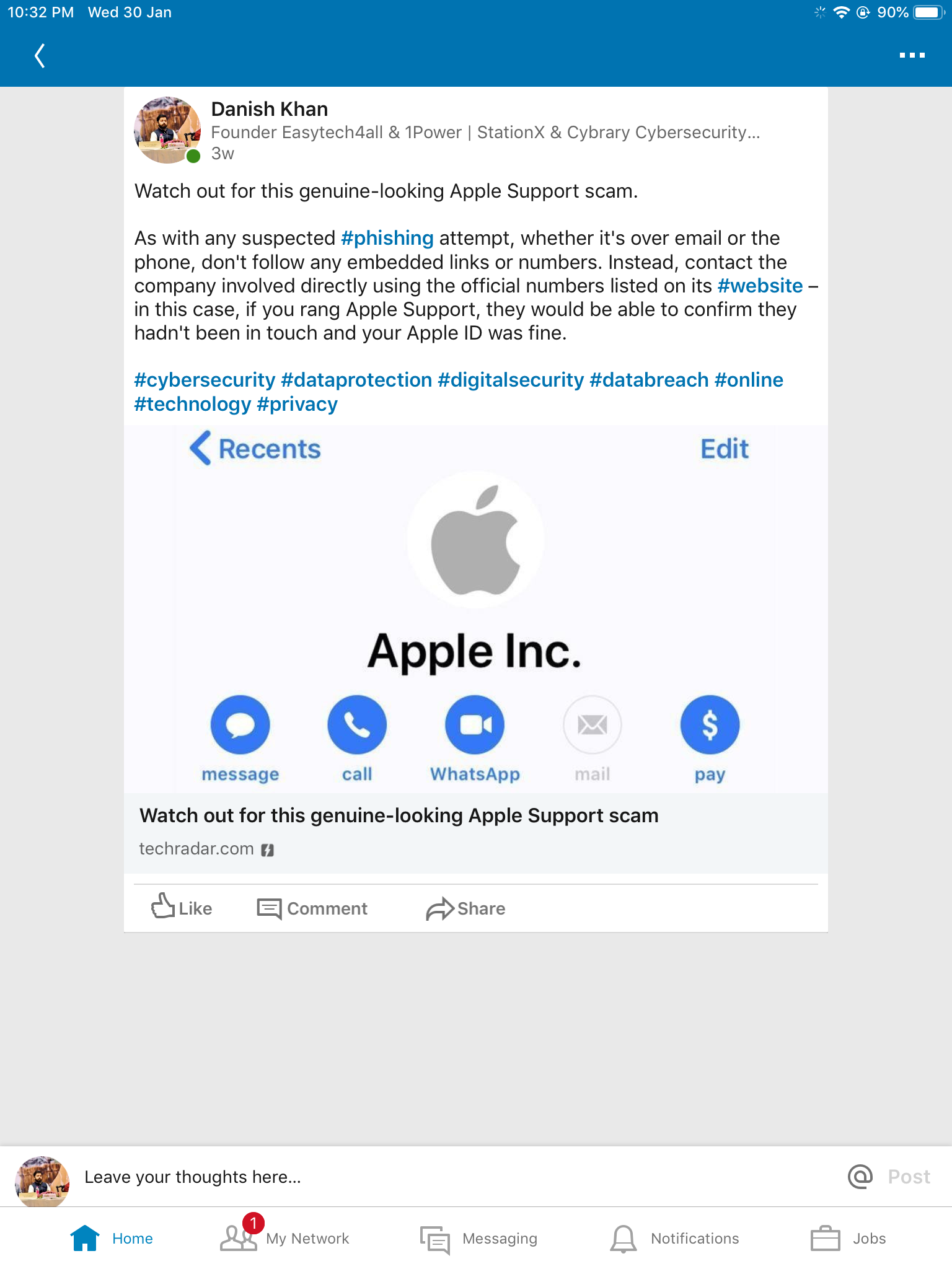 #Apple support #phishing #scam.Beware